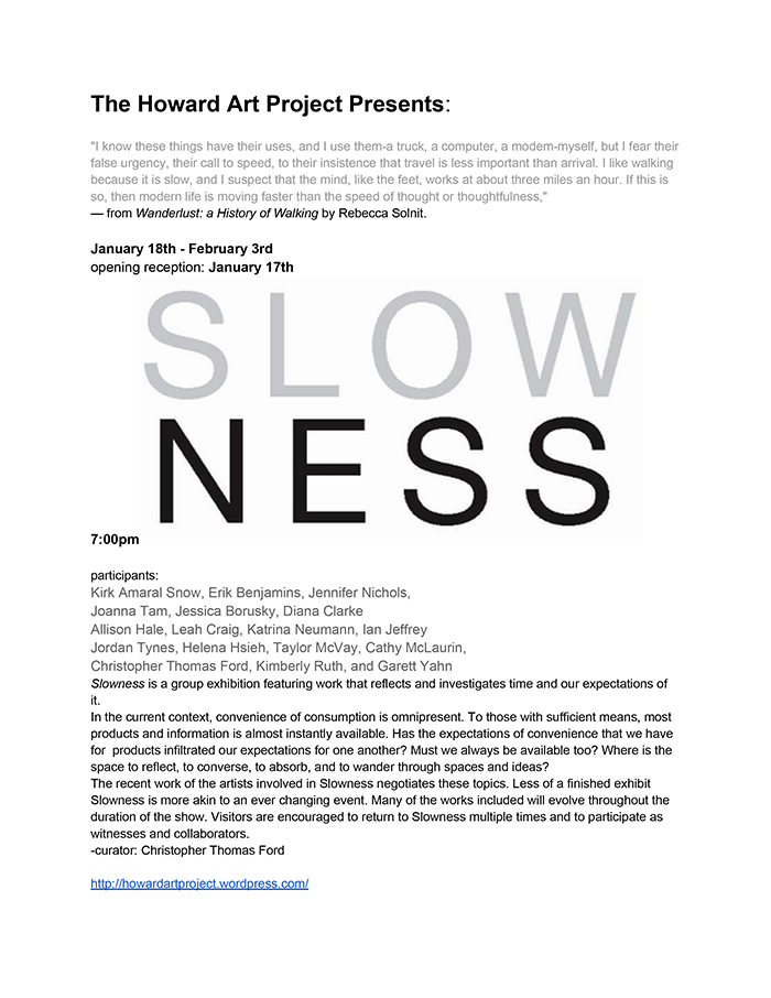 Slowness Press Release